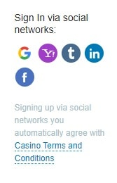 Registration in Casino X through social networks